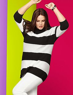 Ultra-trendy and versatile sweater makes a right-now statement with wide stripes and a zip-up back.  Substantial knit keeps you as cozy as you are cute.  lanebryant.com