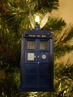 Doctor Who Tardis Christmas Tree Ornament by EccentricCharms, Etsy. For the Dr Who enthusiast (which is me ;-)