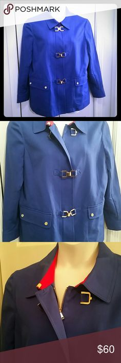 Blue jacket New Without Tags - never worn  Blue military style jacket with red accents from Jones New York  Size 1X (fits like 18) Beautiful stretch cooling fabric  97% cotton 3% spandex/elastane High quality gold color metal buckles, zipper and snaps Deep pockets  28 inches long from shoulder to hem  Color best represented in the second photo  Very stylish Jones New York Jackets & Coats
