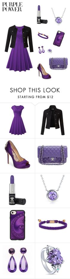 """cute purple look"" by casscop318 ❤ liked on Polyvore featuring LE3NO, Badgley Mischka, Chanel, Manic Panic NYC, Bling Jewelry, Casetify, Nialaya, BERRICLE, purplepower and internationalwomensday"