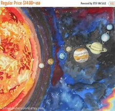 Solar System Watercolor Print. Space painting. Planets painting. Watercolor art. Planets wall art. Planets picture. Astronomy painting. by CatladyWatercolors on Etsy https://www.etsy.com/listing/209789218/solar-system-watercolor-print-space