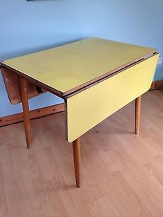 Retro Vintage Yellow Formica Drop Leaf Kitchen Table