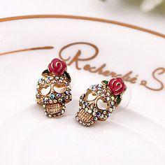 brincos de diamante retro crânio das mulheres e596 – USD $ 1.99