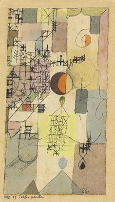 Paul Klee - Zahlenpavillon (Pavilion of Numbers); Creation Date: 1918; Medium: watercolour and pen and ink on paper laid down on the artist's mount;...