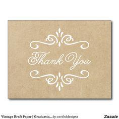 Vintage Kraft Paper | Graduation Thank You Postcard