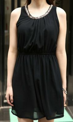 Beaded collar black chiffon dress