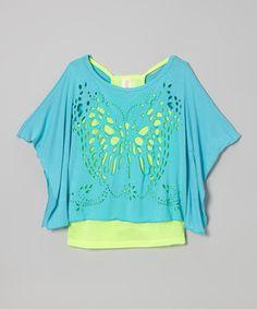 Neon Blue Butterfly Cutout Cape-Sleeve Top & Green Tank - Girls by Tru Luv #zulily #zulilyfinds