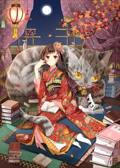 ✮ ANIME ART ✮ kimono. . .traditional clothing. . .hair decoration. . .books. . .reading. . .giant cat. . .autumn leaves. . .paper lantern. . .moon. . .night sky. . .cute. . .kawaii