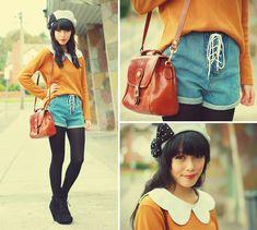 Kani Studded Bow Beret, Romwe Collar, Vintage Jumper, Romwe Lace Up Shorts, Vintage Bag, Asos Wedges