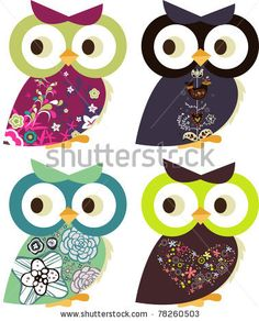 stock vector : holiday project set -very cute kid's project- scrap-booking elements- floral sticker - owl