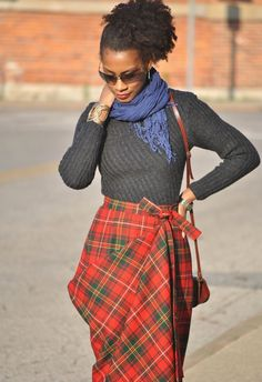 http://thestylesample.com - great tartan skirt look