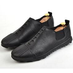 Cool Men Black Leather Gothic Fashion Casual Dress Loafers Shoes SKU-1280102