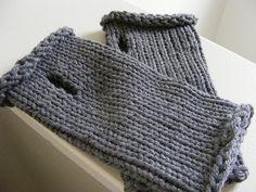 Ravelry: Loom Knit Top Down Wrist Warmers pattern by Gretchen Kalhust