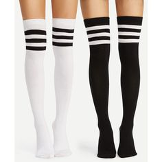 SheIn(sheinside) Striped Over The Knee Socks 2pairs ($9) ❤ liked on Polyvore featuring intimates, hosiery, socks, black and white, over knee socks, stripe socks, black and white striped socks, overknee socks and over the knee hosiery