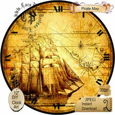 Golden Pirate Map Art DIY Digital Collage  by CocoPuffsDesigns
