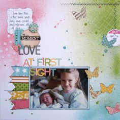layout posted by scrappergrl in the Member Gallery at Studio Calico.  Doesn't mention products used.  Love the different misting and masking used on the page.