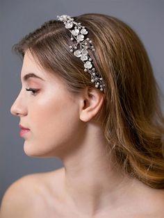 Handmade Bridal Headband with Cream Flowers and Pearls Ribbon Headbands, Floral Headbands, Cream Flowers, Shell Flowers, Headband Hairstyles, Wedding Hairstyles, Wholesale Hair Accessories, Wedding Headband, Hair Vine