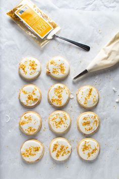 Edible Gold and White Sugar Cookies with Candied Orange