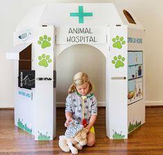 hospital animal little play space casitas de cartón cardboard playhouses