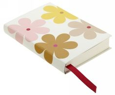 Small case bound notebook, with a lovely chunky daisy print from Caroline Gardner. Great little handbag sized notebook, to always have with you for those important lists and memos to jot down, with a hard-cover, inner-lined with pretty light-grey/off-white stripes and a handy inner pocket for bits & bobs , luxurious 140g ruled paper and pretty ribbon page marker.