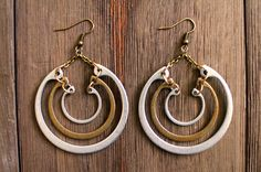Silver and gold tiered retaining ring earrings by crowjanejewelry, $36.00