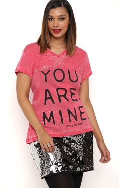 Deb Shops Plus Size short sleeve v neck burnout tee with you are mine screen $16.45