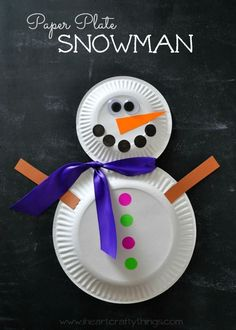 Paper Plate Snowman Craft   Bring the fun inside with this easy Winter Craft for Kids.   From http://iheartcraftythings.com