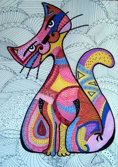 Afbeeldingsresultaat voor macetas pintadas frida kahlo y gatos Art Fantaisiste, Cat Quilt, Cat Drawing, Whimsical Art, Cool Cats, Cat Art, Zentangle, Machine Embroidery, Folk Art