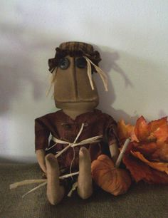 Primitive Fall Scarecrow With Pumpkin Doll.  Amy, Swampwater Primitives - Etsy