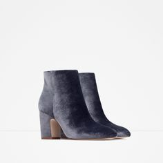 BOTTINES À TALON EN VELOURS - Bottines - Chaussures - FEMME | ZARA Belgique