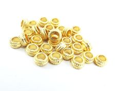 30 NEW 7mm x 3mm Round Ribbed 22k Matte Gold by LylaSupplies