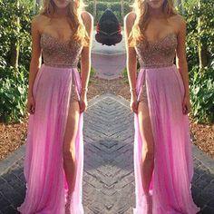 Custom Pink Prom Dress with Slit,Sweetheart Prom Dress,Sexy