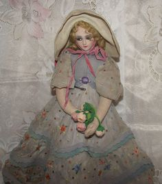 "Beautiful Vintage Joao Perotti Cloth Lady Felt Boudoir Doll 21"" Circa 1930's"