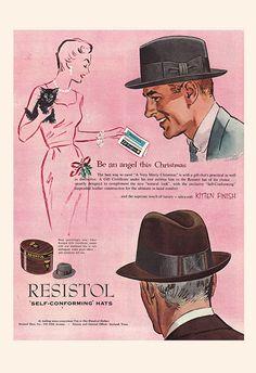 6925146c749cc RESISTOL HAT AD - Vintage Fashion Ad - Mid Century Poster Mad Men Poster  Mad Men Style Art Retro Ha