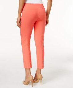 Alfani Petite Tummy-Control Pull-On Capri Pants, Only at Macy's - Tan/Beige 16P