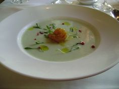 Chilled Yogurt and Melon Soup with shrimps.