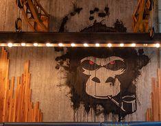 Exposed Concrete, Concrete Wall, Concrete Floors, Meat Restaurant, Restaurant Design, Glass Showcase, Fish And Meat, Wooden Bar, Cafe Design