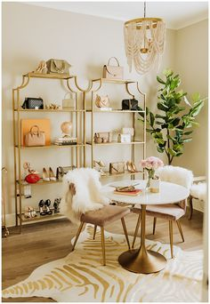Spare Bedroom Transformed Into Glam Office - Haute Off The Rack White Round Dining Table, Small Kitchen Tables, Round Kitchen, Handbag Display, Shoe Display, Chaise Masters, World Market Furniture, Home Office Decor, Office Ideas