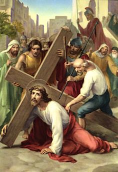 THE THIRD STATION - Jesus falls under the weight of the Cross the First Time.