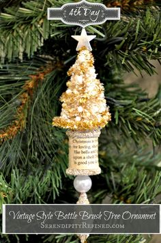 Vintage Style White Bottle Brush Tree/Thread Spool Ornament Tutorial by Serendipity Refined