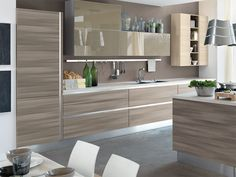 wooden fitted kitchen without handles - Modern Kitchens