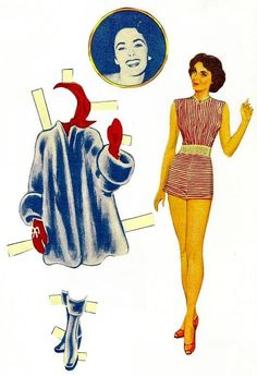 1950s Elizabeth Taylor Paper Doll and Clothes