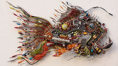General 1920x1080 artwork wires technology fish earphones motherboards electronics white background USB microchip fans surreal creativity cyber Acer keyboards fin fangs processor CPU capacitors circuits Hi-Tech Anglerfish Microsoft Windows