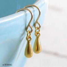Gold Teardrop Earrings Drop Dangle DJStrang Minimalist Satin Finish Golden Boho Tear Drop Wedding Bride Bridal Bridesmaid