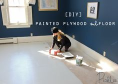 painted plywood sub-floor-diy