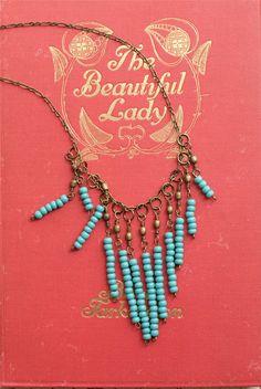 Turquoise Bead Necklace Fringe Under 25 Simple Jewelry Bohemian Ethnic Tribal Black Friday Etsy. $20.00, via Etsy.