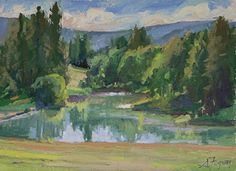 The pond, painted on site in Kevin Macpherson's workshop by Susan Fuquay Oil ~ 9…