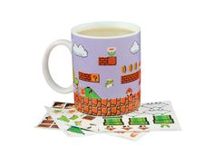 Level up your morning coffee with this completely customizable Super Mario Bros mug! Use the stickers provided to build and create your own personal version of classic Super Mario levels by adding coins, mushrooms, Goombas and more! Super Mario Bros, Super Mario Brothers, Super Nintendo, Mario Bros., Mario And Luigi, Presents For Mum, Mug Display, Maker Game, Classic Video Games