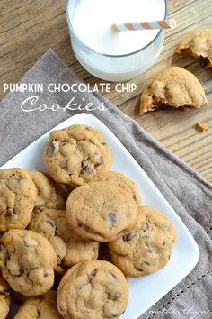 Pumpkin Chocolate Chip Cookieis (An easy recipe for soft and chewy Pumpkin Chocolate Chip Cookies made with pumpkin spice pudding mix will become a fall favorite!)  l  Mother Thyme