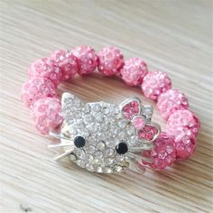 Hello Kitty Bracelets Attached Stone Handmade